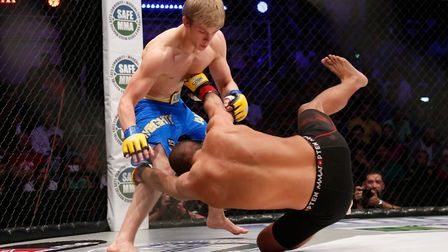 Arnold Allen in the ring. Picture: DOLLY CLEW/CAGE WARRIORS
