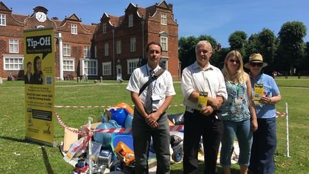 Campaigners urging people not to turn a blind eye to fly tippers (L-R) Daniel Wareing, Ben Hunter, E