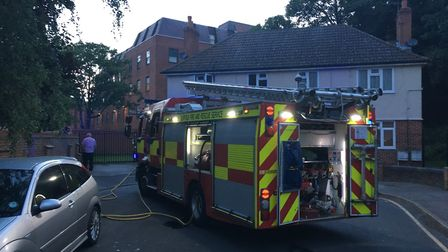 Firefighters extinghuished a fire at a flat in Little Gipping Street in Ipswich. Picture: ADAM HOWLE