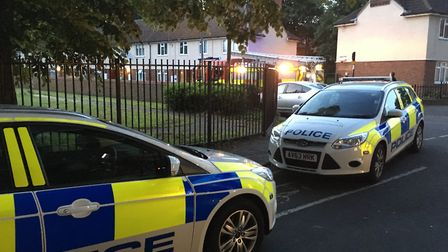 Police also attended the scene in Little Gipping Street in Ipswich. Picture: ADAM HOWLETT