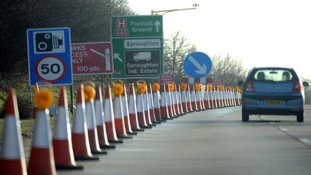 Stock image of roadworks on the A14. Picture: ALEX FAIRFULL/ARCHANT LIBRARY