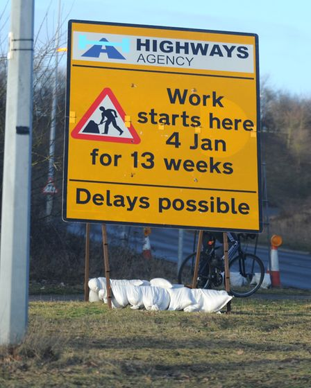 A Highways England roadworks sign. Picture: ALEX FAIRFULL/ARCHANT LIBRARY