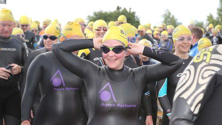 The one mile starting line at the Great East Swim at Alton Water. Picture: SEANA HUGHES