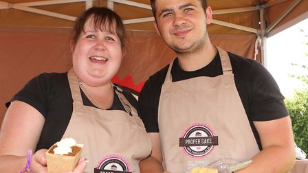 Fay and Dan Forbes of Proper Cakes at the food market, ready to get the swimmers re-energised. Pictu
