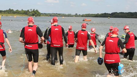 Into the water they go on the Great Swim Run. Picture: SEANA HUGHES