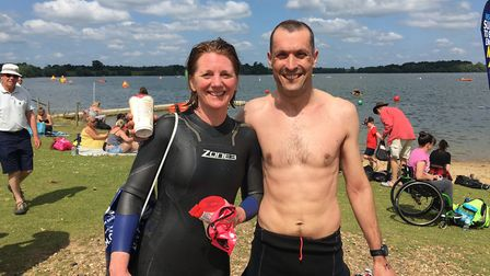 Husband and wife Helen and Rob Davis, from Cambridge, had a close race for the finish in their two m