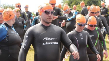 At the start line of the one mile swim. Picture: SEANA HUGHES