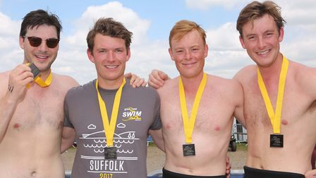 George Petrie, Ben Miller, Hugh and Jack Ronen who took part in the Great East Swim. Picture: SEANA