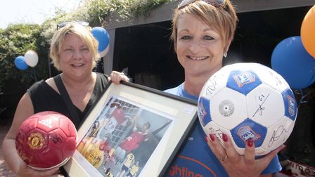 Father's Day motor neurone disease fundraiser at The Bell Kesgrave. Organiser, Dawn Warnes with Debb