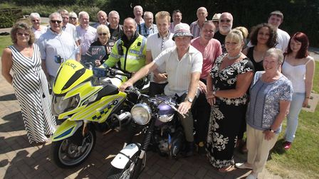 Former Suffolk policeman Geoff Lusher is reunited with his 50-year-old ex-police Triumph Motorbike a