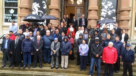 Community leaders on the steps of the Town Hall in Ipswich. Picture: PAUL GEATER