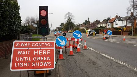 Temporary traffic lights in Woodbridge Road are due to come down soon. File picture