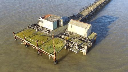 An aerial image of the piers in Shotley. Picture: MATT PORTER