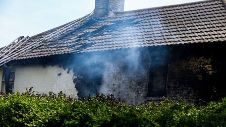 The building, at Felixstowe Ferry Golf Club, was said to be well alight when crews were called.Pic