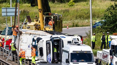 The scene of the lorry crash in Felixstowe. Picture: STEPHEN WALLER