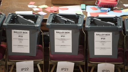 A general view of empty ballot boxes at the count. Picture: ASHLEY PICKERING