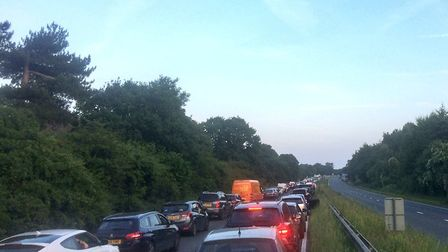 Traffic at a standstill on the A12. Picture: MARK BULSTRODE