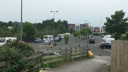 A group have caravans have pitched up at the West End Road car park in Ipswich. Picture: ADAM HOWLET
