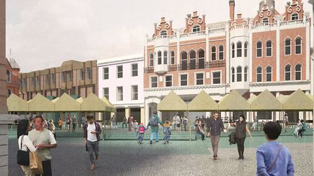 Architects' impression of the new look for Ipswich Cornhill. Picture: IBC