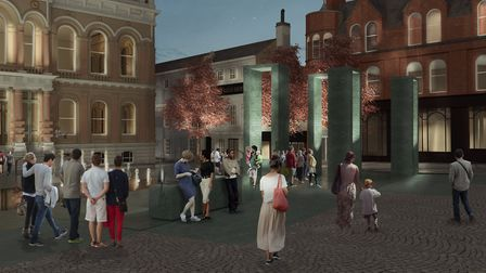 Architects' impression of the new look for Ipswich Cornhill - the controversial four arches sculptur