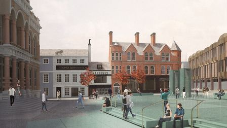 Architects' impression of the new look for Ipswich Cornhill. The view from the Post Office showing t