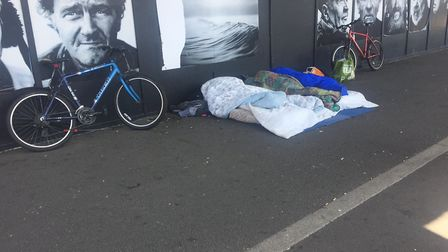 Beds set up near the 'winerack' at Ipswich Waterfront. Picture: GEMMA MITCHELL