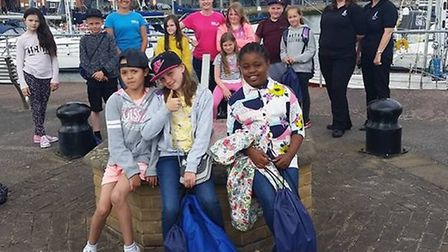 Members of Suffolk Young Carers enjoying a day out at Ipswich Haven Marina