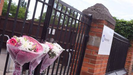 Flowers and tributes to Amanda Phillips outside Murrayfield Primary School last week. Picture: SARA