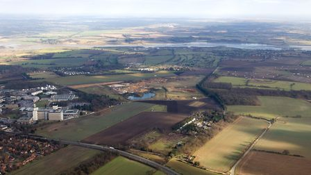 Aerial view of Adastral Park and surrounding area. Picture: CLIFF HOPPITT - airshots.co.uk.