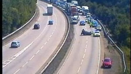 The scene of the accident on the A14 near Ipswich. Picture: HIGHWAYS ENGLAND