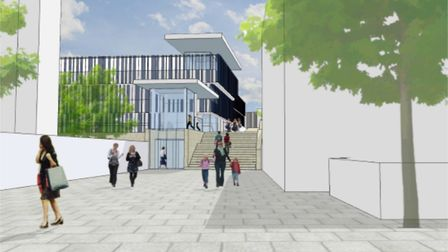 An architect's impression of the pedestrian entrance to the new Crown Car Park