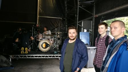 Suffolk New College music students Duncan Drake, Mark Bennett and Jonathan Payne backstage at 2017 L