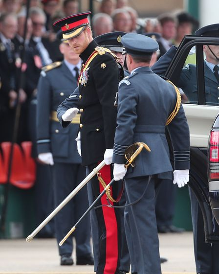 Prince Harry arrives at RAF Honington in Suffolk. Picture GARETH FULLER/PA WIRE