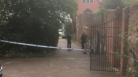 The police cordon in St Clement's Church Lane. Picture: COLIN ADWENT