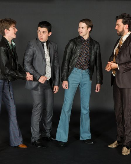 Chris Evans (right) as club owner Curtis with his gang Haydn Ingram as TJ, Curtis Cook as Pablo and
