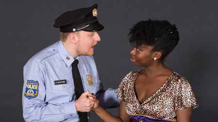 Peter Ling as police office Eddie Souther with Venecia Allen as Deloris in Sister Act. Photo: Mike K