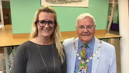 Emma Connolly from One sixth form with deputy mayor of Ipswich Roger Fern. Picture: JOHN NICE