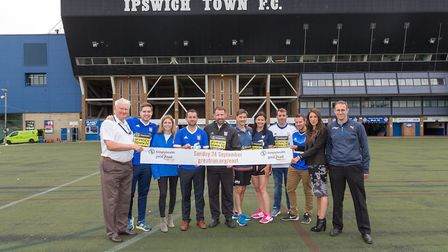 The Great East Run announcing their partnership with Ipswich Town - Cllr Tony Goldson, Theo Bennewor