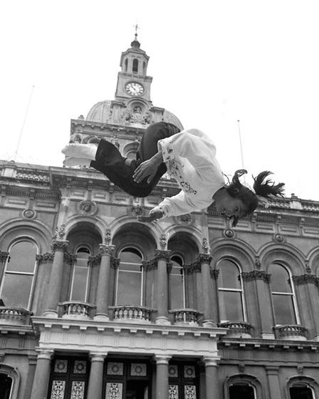 Flipping in front of the Cornhill