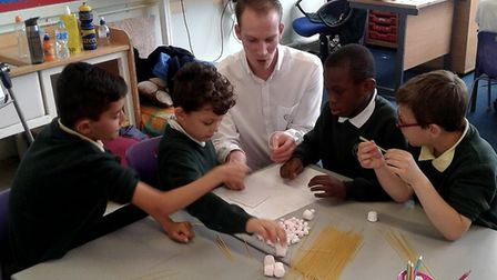 Year 3 pupils at Hillside Primary School enjoy a visit from engineer David Brunning, a science, tech