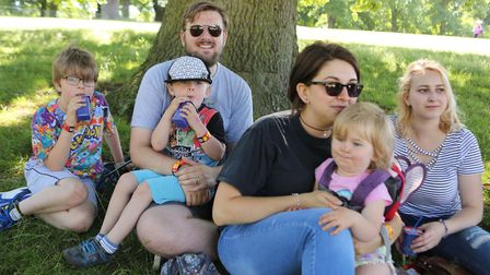 The Scowen family watching Finding Dory in Christchurch Park. Picture : SEANA HUGHES