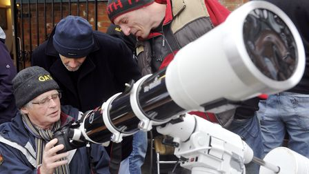 Orwell Astronomical Society Ipswich members Mike Mahoney, Alan Smith and Matthew Leeks. Picture: SU