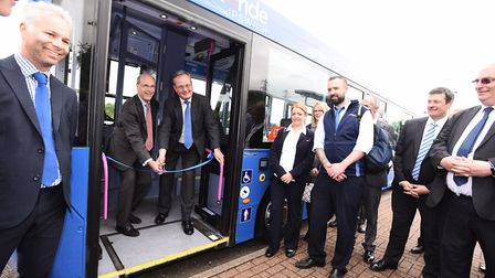 Giles Fearnley, managing director of First UK Bus, and councillor James Finch cut a ribbon to mark t