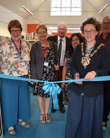 The reopening of Rosehill Library, (left to right) Kate Byford, library manager; local county counci