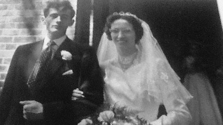 Margaret and Bryan Saunders on their wedding day on July 29, 1957. Picture: CONTRIBUTED