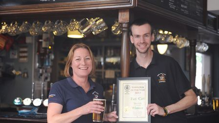 Liz Pledge and Peter Clifford from The Fat Cat, which has won the Ipswich and East Suffolk CAMRA Pub