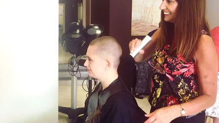 Emily Wood during the head shave to raise money for Bloodwise. Picture: EMILY WOOD