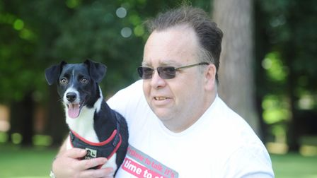 Brian Turner from Time To Change, with his dog Rocky. Picture: SARAH LUCY BROWN
