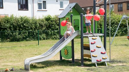 Youngsters testing out the revamped Oak Meadow play area. Picture: KESGRAVE TOWN COUNCIL