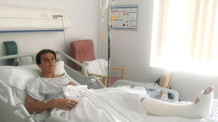 Henry Wilkins waiting for his operation in Ipswich Hospital. Picture: CLAIRE WILKINS